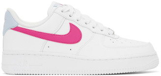 Nike White and Pink Air Force 1 Sneakers