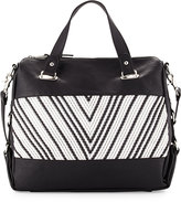 French Connection Charlie Woven Satchel Bag, Black/White