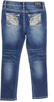 ZCO Medium Blue Distressed Wing-Embroidered Straight-Leg Jeans - Girls