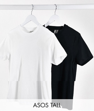 Asos Tall ASOS DESIGN Tall ultimate organic cotton t-shirt with crew neck 2 pack SAVE