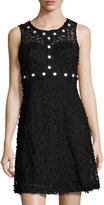 Taylor Daisy-Trim Mesh-Lace Sleeveless Dress, Black