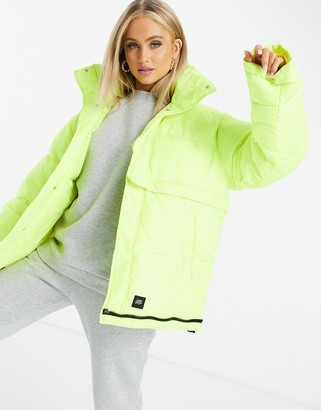 Sixth June oversized puffer jacket in neon
