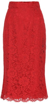 Dolce & Gabbana Floral-lace skirt