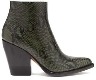 Chloé Rylee Python-effect Leather Boots - Womens - Dark Grey