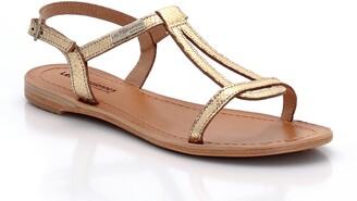 Les Tropéziennes Hamat Leather Flat Sandals with Faux Snakeskin