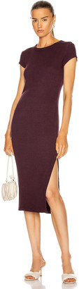 Enza Costa Cap Sleeve Slit Midi Dress in Dark Plum | FWRD