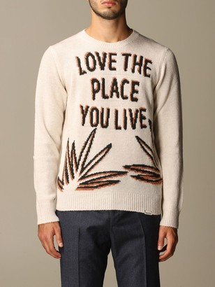 Brooksfield Crewneck Sweater With Jacquard Writing