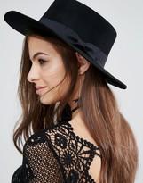 Aldo Wide Brim Flat Top Wool Hat