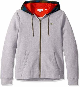 Lacoste Mens Sport Long Sleeve Full Zip Fleece Sweatshirt W/ Camo Hood Sweatshirt