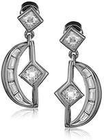 Nicole Miller New York Crescent Baguette Gold Drop Earrings