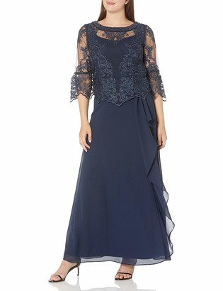 Le Bos Women's Embroidered LACE Dress with Drape Detail at Waist