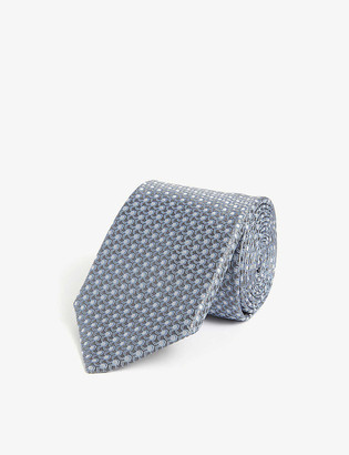 Canali 3D square pattern silk tie