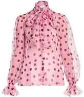 Dolce & Gabbana Polka Dot Silk Organza Tieneck Blouse