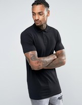 Asos Longline Muscle Polo Shirt In Black