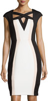Jax Colorblock Crisscross Sheath Dress, Ivory/Black