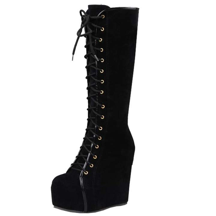 Fur Wedge Platform Heel Warm Artfaerie Up High Shoesus 8 Womens 5 Long Ladies Knee Winter Lace Boots lKcJF1