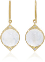 Jamie Wolf 18K Gold Rainbow Moonstone and Diamond Earrings