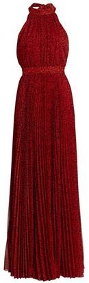 Alice + Olivia Kelissa Leopard Halter Pleated Maxi Dress