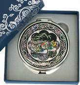 Ben Silver Hand mirror, compact type, handmade mother of pearl gifts, mandarin duck by Silver J
