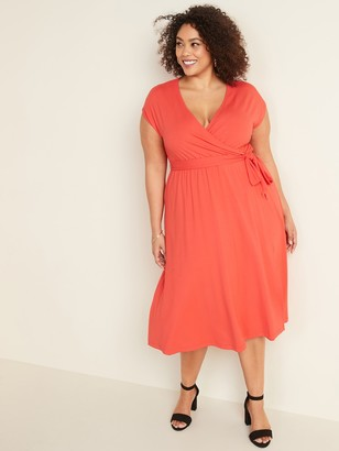Old Navy Fit & Flare Wrap-Front Plus-Size Tie-Belt Midi Dress