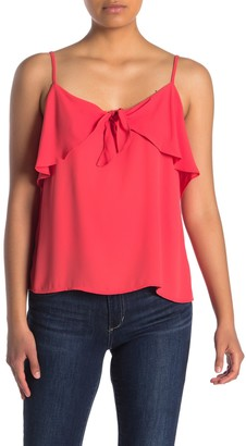 Lush Ruffle Tie Front Crepe Camisole