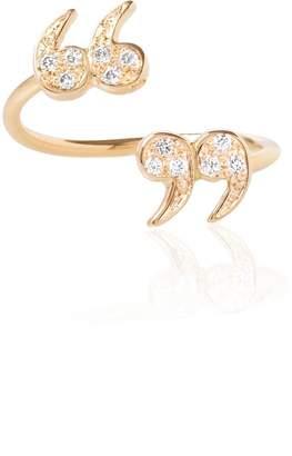"""Diamond Encrusted Mini """"Quote Un-Quote"""" Spiral Ring"""