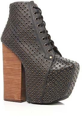 Jeffrey Campbell The Freda Eyelet Shoe in Black and Bronze