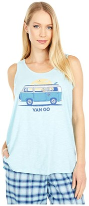 Life is Good Van Go Textured Slub Tank Top (Beach Blue) Women's Sleeveless