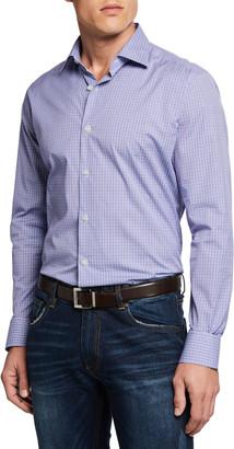 Neiman Marcus Men's Mini-Plaid Sport Shirt