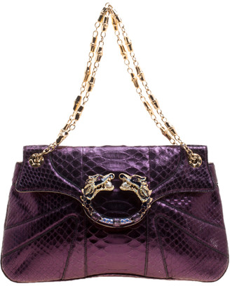 Gucci Purple Python Tom Ford Jeweled Dragon Chain Clutch