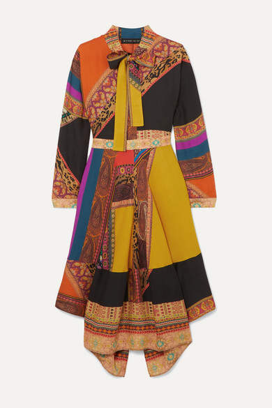 Etro Pussy-bow Asymmetric Patchwork Wool And Silk-blend Twill Midi Dress - Orange