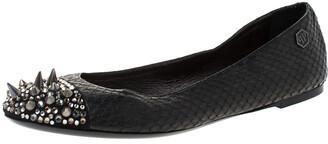 Philipp Plein Black Python Spike Ballet Flats Size 38.5