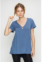 B-Sharp Collection Women's Solid Top Tanboocel Bamboo Tunic Short Sleeve Deep V-neck Open Keyhole.