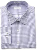 Pierre Cardin Men's Plaid Or Check Regular Fit Semi Spread Collar Dress Shirt