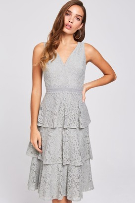 Little Mistress Lissa Waterlily Tiered-Lace Midi Dress