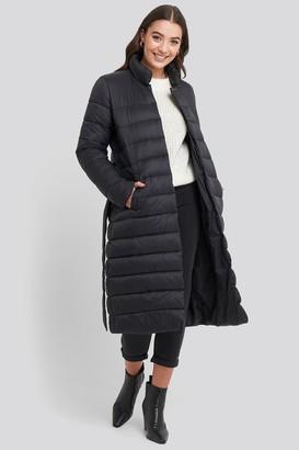 NA-KD Long Belted Padded Jacket Black