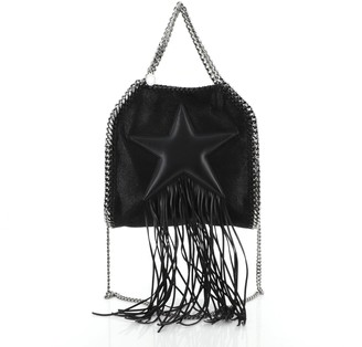 Stella McCartney Falabella Fringe Star Fold Over Crossbody Bag Shaggy Deer Mini