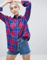 Asos DESIGN Oversized Boyfriend Shirt In Ombre Check