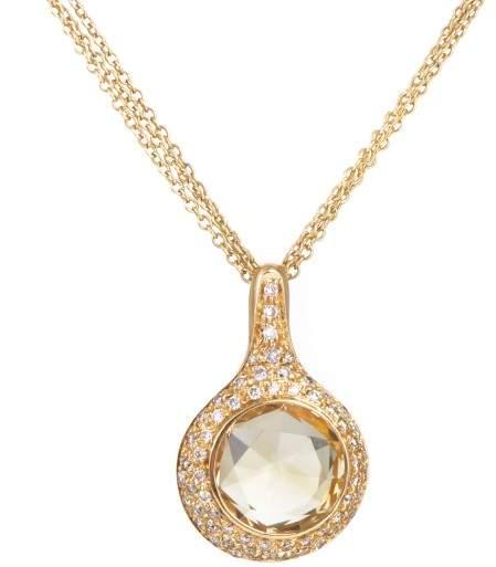 Antonini 18K Yellow Gold 0.65ct Diamond & Citrine Pendant Necklace