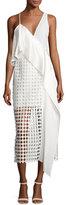 Diane von Furstenberg Asymmetric Ruffle Lace Midi Dress, Ivory