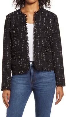 Halogen Fringe Tweed Jacket