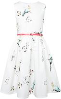 John Lewis Girls' Water Colour Bird Dress, Cream/Multi