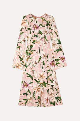 Dolce & Gabbana Pleated Floral-print Crepe De Chine Midi Dress - Pink
