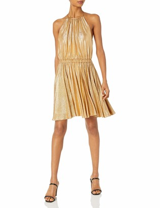 Halston Women's Sleeveless Round Neck Dress with Flounce Skirt