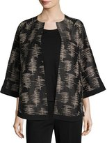 Misook 3/4-Sleeve Silk Embroidered Jacket, Petite