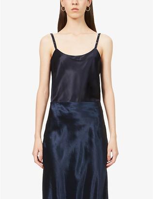 Max Mara Elegante Lory bead-embellished silk-satin camisole