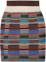 Missoni Metallic Crochet-knit Mini Skirt - Blue