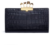 Alexander McQueen Swarovski crystal croc embossed leather knuckle flat pouch