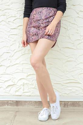 Wild Honey Violet Vegan Snake Mini Skirt Purple S