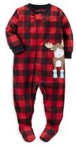 Carter's Zip-Front Buffalo Plaid Moose Fleece Footed Pajama in Red